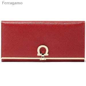 フェラガモ 二つ折り 財布 長財布 549413 224633 ROSSO レッド/ゴールド Salvatore Ferragamo|pre-ma