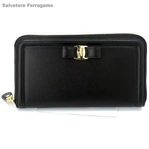 サルヴァトーレフェラガモ Salvatore Ferragamo 長財布 ラウンドファスナー  22C908  ブラック  新品|pre-ma