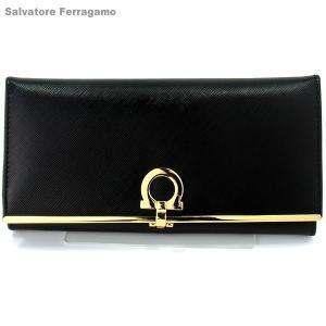 【アウトレット箱不良】フェラガモ 二つ折り 財布 長財布 614666 224633 NERO ブラック/ゴールド Salvatore Ferragamo|pre-ma