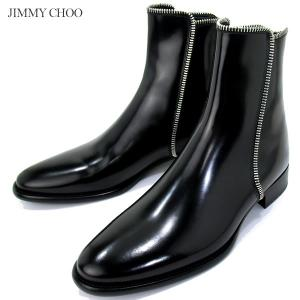 JIMMY CHOO ジミーチュウ ヒールジップブーツ ZIP TRIM BOOTS メンズ レザー ショートブーツ|pre-ma