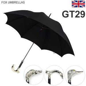 FOX UMBRELLAS フォックス アンブレラ 長傘 GT29 メンズ アニマルヘッド Nickel Finish Animal Head Handle|pre-ma
