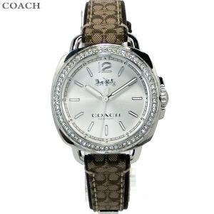 コーチ COACH  レディース 腕時計 テイタム 14502768 シルバー マホガニ ジャカード レザー|pre-ma
