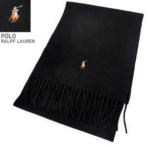 ポロラルフローレン マフラー/スカーフ SIGNATURE PC0001 001 ブラック ヴァージンウール100%イタリア製|pre-ma