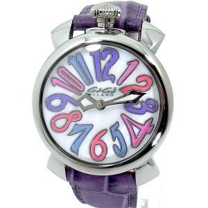 ガガミラノ GaGa MILANO レディース 腕時計 5020.7 MANUALE 40mm シルバー/パープル レザー 新品 決算SSP|pre-ma