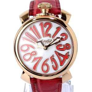 ガガミラノ GaGa MILANO レディース 腕時計 5021.5 MANUALE 40mm PG/レッド レザー 新品 決算SSP|pre-ma