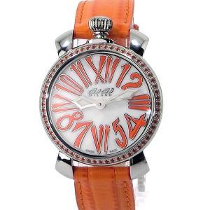 ガガミラノ GaGa MILANO レディース 腕時計 6025.05 MANUALE 35MM STONES オレンジ レザー 新品|pre-ma