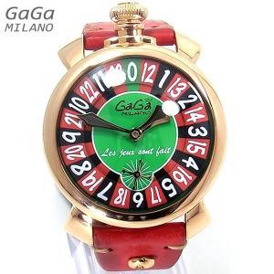 ガガミラノ GaGa MILANO メンズ 腕時計 5011.LAS VEGAS 01 ピンクゴールド レッドレザー 48mm 手巻き式 スイス製  新品アウトレット|pre-ma