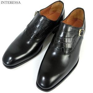 INTERESSA インテレッサ 阪急 紳士靴 モンクストラップ ブラック 7713 ブラック メンズ ポルトガル製 新品アウトレット|pre-ma