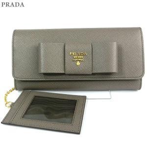 PRADA プラダ 財布 二つ折り長財布 リボン 1MH132 ZTM F0572 SAFFIANO FIOCCO ARGILLA/グレー パスケース付|pre-ma