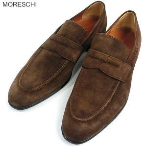 MORESCHI モレスキー  紳士靴 スエード ローファー 39112 ブラウン サイズ 7(26cm) イタリア製 新品アウトレット-49|pre-ma