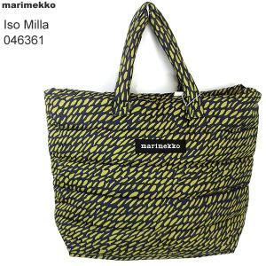 マリメッコ marimekko Iso Milla トートバック ラージ 046361 650 ネイビー/グリーン Sukkula|pre-ma