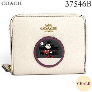 コーチ ディズニー 財布 二つ折り ラウンドファスナー 37546B LICHK CHALK/オフホワイト ミニーマウス パッチ COACH DISNEY コラボ|pre-ma