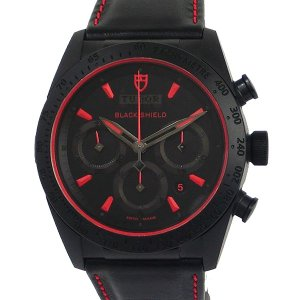 TUDOR チュードル メンズ 腕時計 42000CR FASTRIDER BLACK SHIELD ブラック/レッド レザー 自動巻き 保証書印付き 決算SSP|pre-ma
