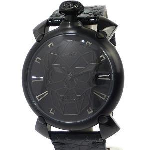 ガガミラノ GaGa MILANO 腕時計 6012.01S  BIONIC SKULL バイオニック スカル 45mm 自動巻 クロコレザー【展示品アウトレット】|pre-ma