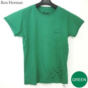 ロンハーマン Ron Herman 8100 クルーネック Tシャツ グリーン ダメージ加工 レディース RHC 99209-12 コットン100% 決算SSP|pre-ma