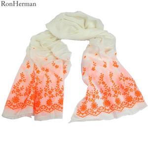 ロンハーマン Ron Herman ストール 2311000014 刺繍 ネオンオレンジ コットン/レーヨン/シルク 大判 174x89cm イタリア製|pre-ma