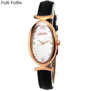 フォリフォリ Folli Follie 腕時計 レディブルーム Lady Bloom WF16R031SSS  ブラックレザー レディース|pre-ma
