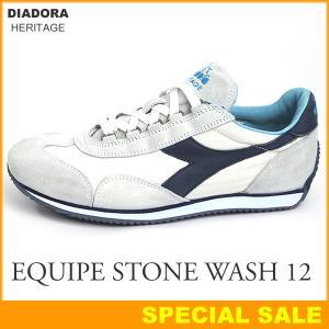 DIADORA HERITAGE ディアドラ ヘリテージ スニーカー 156988 EQUIPE STONE WASH 12 C0837 WHITE EBONY/ホワイト・ネイビー|pre-ma