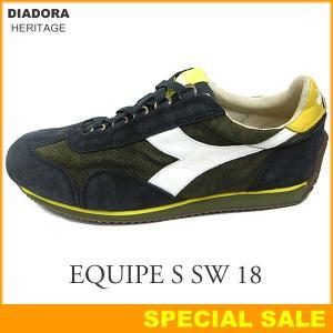 DIADORA HERITAGE ディアドラ ヘリテージ スニーカー 173900 EQUIPE S SW 18 スエードレザー C6339 Burnt Olive / White メンズ|pre-ma