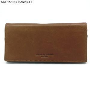 キャサリンハムネット 長財布 二つ折り 本革 レザー K57006-20 ブラウン KATHARINE HAMNETT  新品アウトレット|pre-ma
