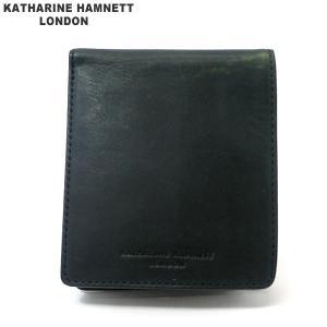 キャサリンハムネット  二つ折り財布 本革 レザー K59200-41 ブルーグリーン KATHARINE HAMNETT  現品限り 新品アウトレット|pre-ma