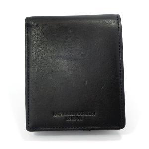キャサリンハムネット  二つ折り財布 本革 レザー K57003-10 ブラック  KATHARINE HAMNETT  現品限り 新品アウトレット|pre-ma