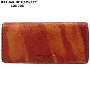 キャサリンハムネット 長財布 本革 レザー K59203-61-1 オレンジ KATHARINE HAMNETT  現品限り 新品アウトレット|pre-ma