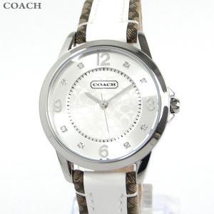 コーチ COACH  レディース腕時計 シグネチャー 14501619 シルバー ホワイトエナメル/マホガニ レザー|pre-ma
