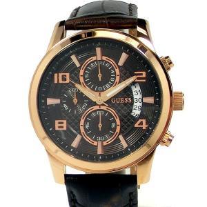 GUESS ゲス ウォッチ メンズ 腕時計 W0076G4 クロノグラフ ローズゴールド/ブラウンレザー 【新品アウトレット】|pre-ma
