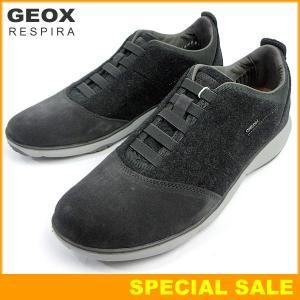 GEOX ジェオックス メンズ スニーカー U NEBULA B ANTHRACITE グレー フェルト&スエード 呼吸する靴|pre-ma