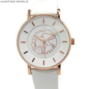ハンティングワールド レディース 腕時計 HW-01-PWH 日本製ムーヴ 36mm ピンクゴールド/ホワイトレザー 新品 正規品 専用紙袋付 pre-ma