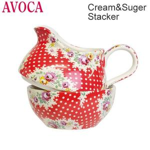 AVOCA アヴォカ  Cream&Suger Stacker クリーム&シュガースタッカー  Antique Paisley Red  3031 キッチン雑貨 セラミック製|pre-ma