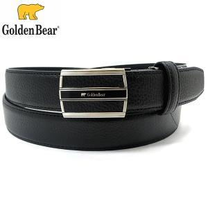 ゴールデンベア レザー ベルト メンズ 紳士用 ブラック 牛革 長さ調節OK Golden Bear 196143|pre-ma