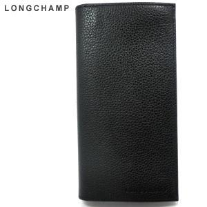 LONGCHAMP ロンシャン 長財布 本革レザー 3043 021 047 ブラック 二つ折り フローネ Le foulonne 200343|pre-ma