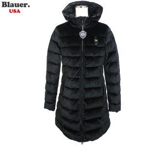 Blauer USA ブラウアー レディース ダウン ジャケット ベロア ロングコート 19WBLDK03009 005482 999 ブラック|pre-ma
