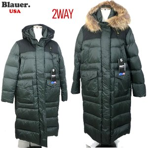 Blauer USA ブラウアー レディース ダウン ジャケット ロングコート ベンチコート リアルファー付  19WBLDK03017 005473 667 モスグリーン|pre-ma
