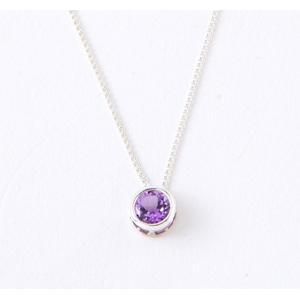 2月 天然石 アメジスト 0.5ct(カラット) 誕生石 ネックレス シルバー 925 プレゼント(贈り物)としても最適!|preciousto