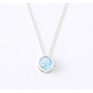 11月 天然石 ブルー トパーズ 0.5ct(カラット) 誕生石 ネックレス シルバー 925 プレゼント(贈り物)としても最適!|preciousto