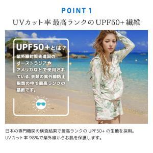 水着 ラッシュガード レディース 花柄 上下セット 体型カバー 大きいサイズ 長袖 UVカット UPF50+ 紫外線対策 日焼け防止 ひんやり 2019水着新作 S M L LL|premium-interior|05