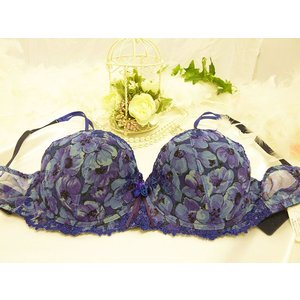 (セール80%OFF)lejaby/レジャビー 送料無料 パテッドブラジャー Lb010AN 08332 プリント 青 紫 残り1点のみ|premium-lingerie
