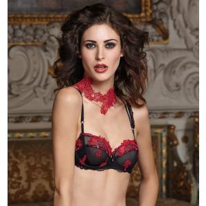 LISE CHARMEL/リズシャルメル (50%OFFセール) 送料無料 RECITAL SEXY (セクシーリサイタル) 3/4カップノンパテッドブラジャー Dカップ Lc1020BK ACC3055 赤 黒|premium-lingerie