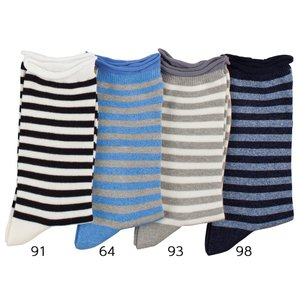 N-PLATZ 婦人 レディース メランジボーダークルーソックス靴下 LEG030 03082372 ナイガイ 靴下 ソックス レディ|premium-lingerie