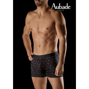 メンズ ボクサー オーバドゥ aubade MEN メンズボクサーショーツ AuM003 XB73M プリント ブラック 黒 幾何学 Mサイズ Lサイズ|premium-lingerie