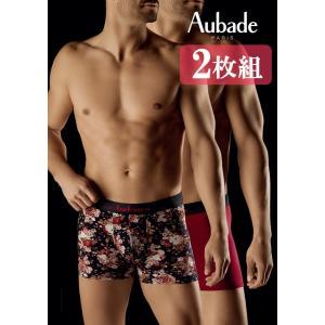 (2枚組) メンズ ボクサー オーバドゥ aubade MEN メンズボクサーショーツ AuM004 XB53M セット 赤 プリント 花柄|premium-lingerie