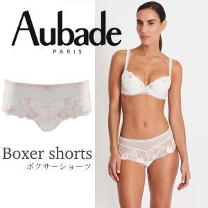 オーバドゥ Aubade ボクサー Au269LO HF70 睡蓮の楽園 LOTUS ギフト プレゼント セクシー 下着 ランジェリー インポート フランス 白 ピンク 3(L)|premium-lingerie