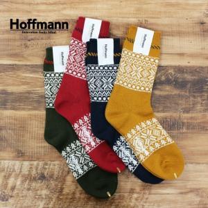ホフマン Hoffmann メンズ 靴下 ソックス コットン スノー柄 国産 日本製 おしゃれ プレゼント ギフト 7974 Ho061 04ネイビー 07イエロー 10レッド 32モスグリー|premium-lingerie