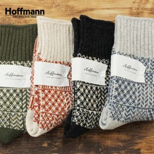 (メール便可) ホフマン Hoffmann 靴下 ソックス レディース 暖かい ウール コットン 国産 日本製 おしゃれ 幾何学柄 プレゼント ギフト 7981 Ho062|premium-lingerie