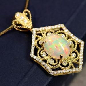 エチオピア産ウェロオパール1.8ct ダイヤモンド0.35ct イエローゴールド ネックレス【品質保証書/宝石鑑別書付】 premium-outlet