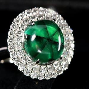 コロンビア産トラピッチェエメラルド7.2ct ダイヤモンド1.2ct プラチナ リング(指輪)【品質保証書】/宝石鑑別書付】 premium-outlet