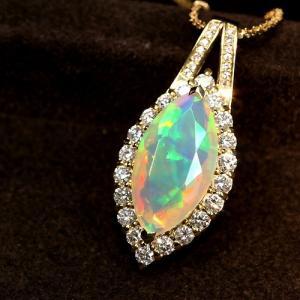 エチオピア産ウェロオパール4.3ct ダイヤモンド1ct イエローゴールド ネックレス【宝石鑑別書付】 premium-outlet